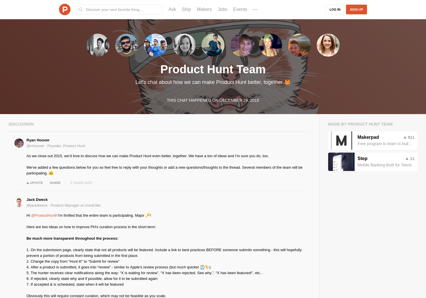 Product Hunt Team LIVE Chat on Product Hunt