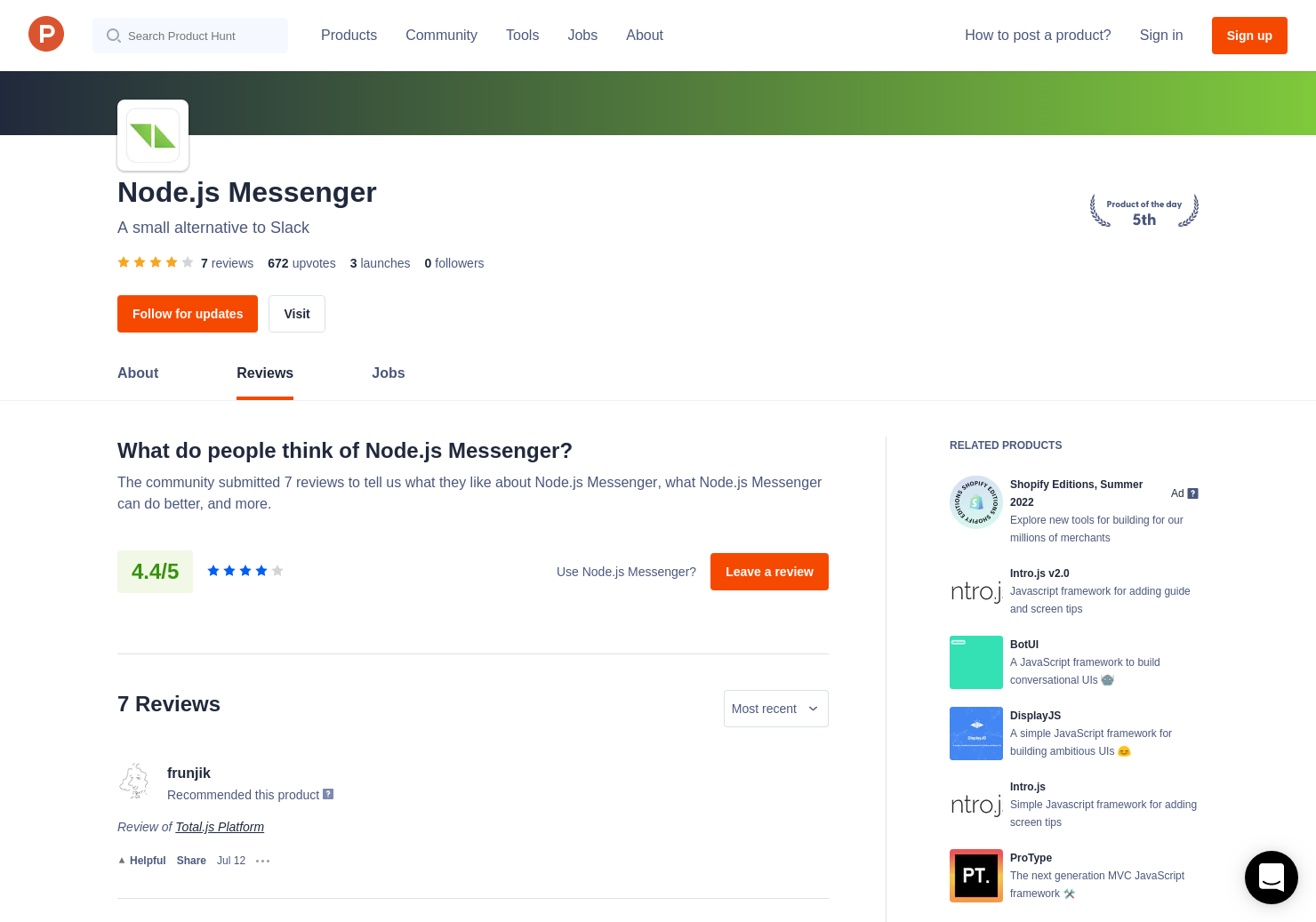 Node js Messenger Reviews - Pros, Cons and Rating | Product Hunt