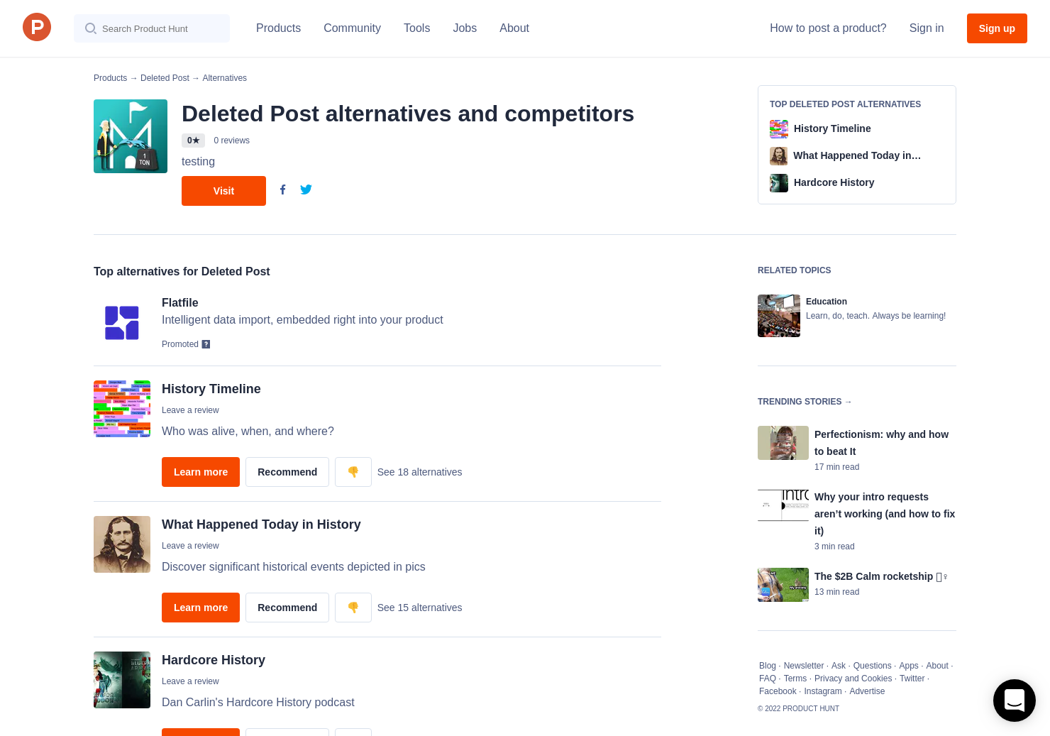 10 Alternatives to Deleted Post | Product Hunt