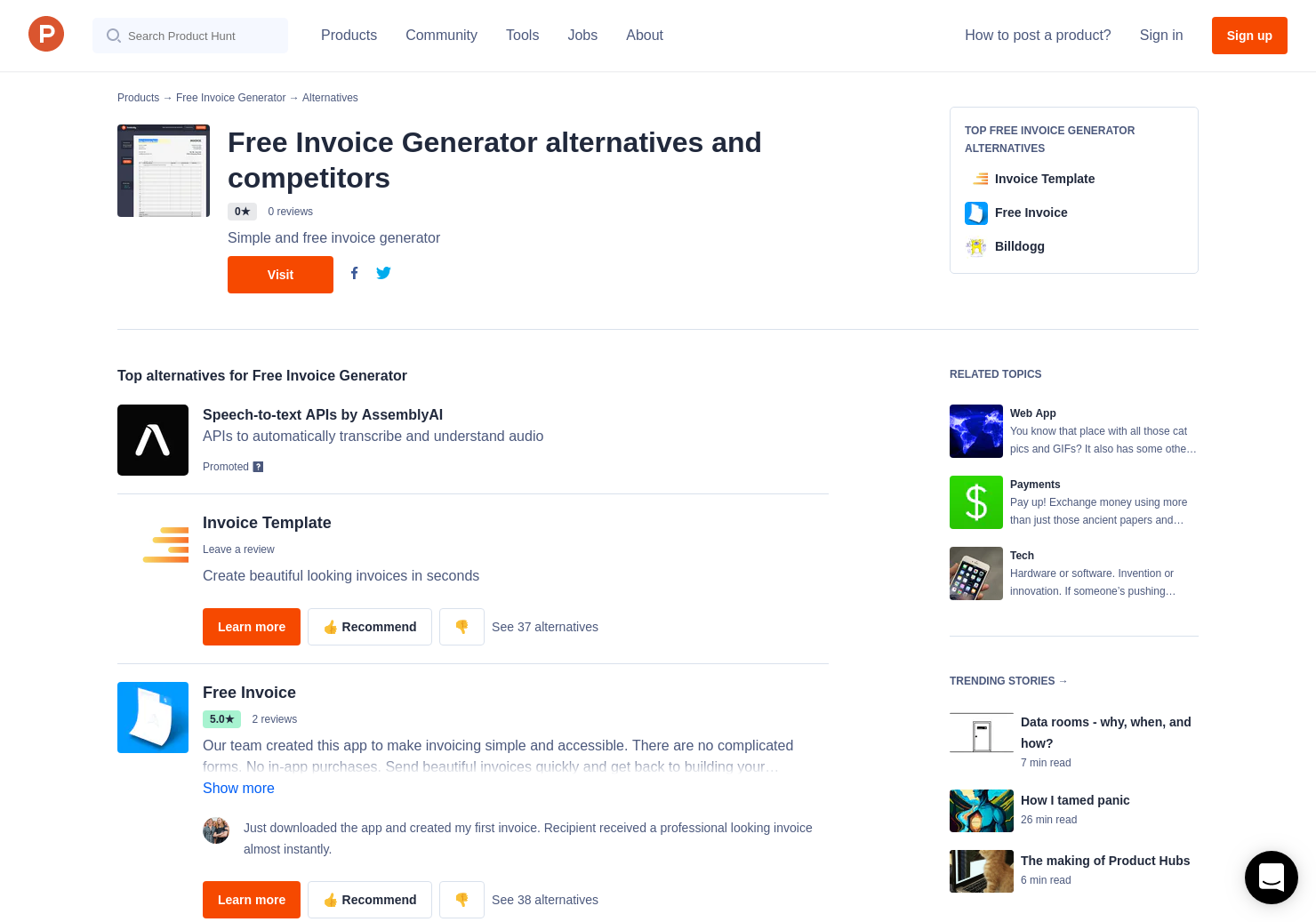 14 alternatives to free invoice generator product hunt