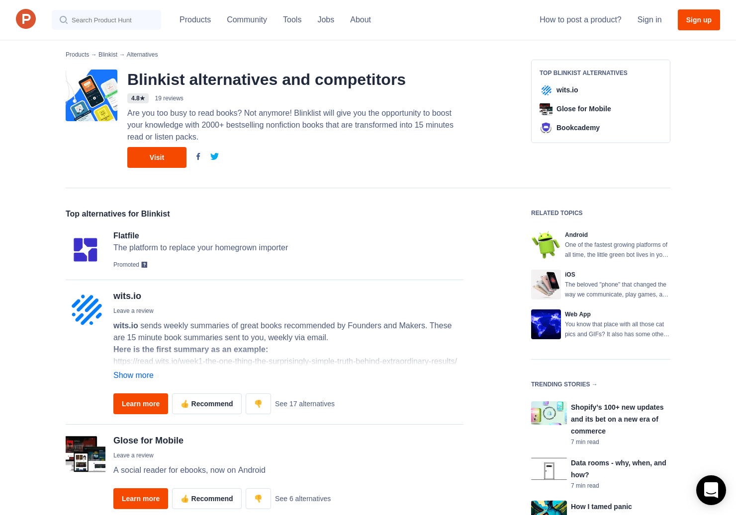 6 Alternatives to Blinkist for Android, iPhone | Product Hunt