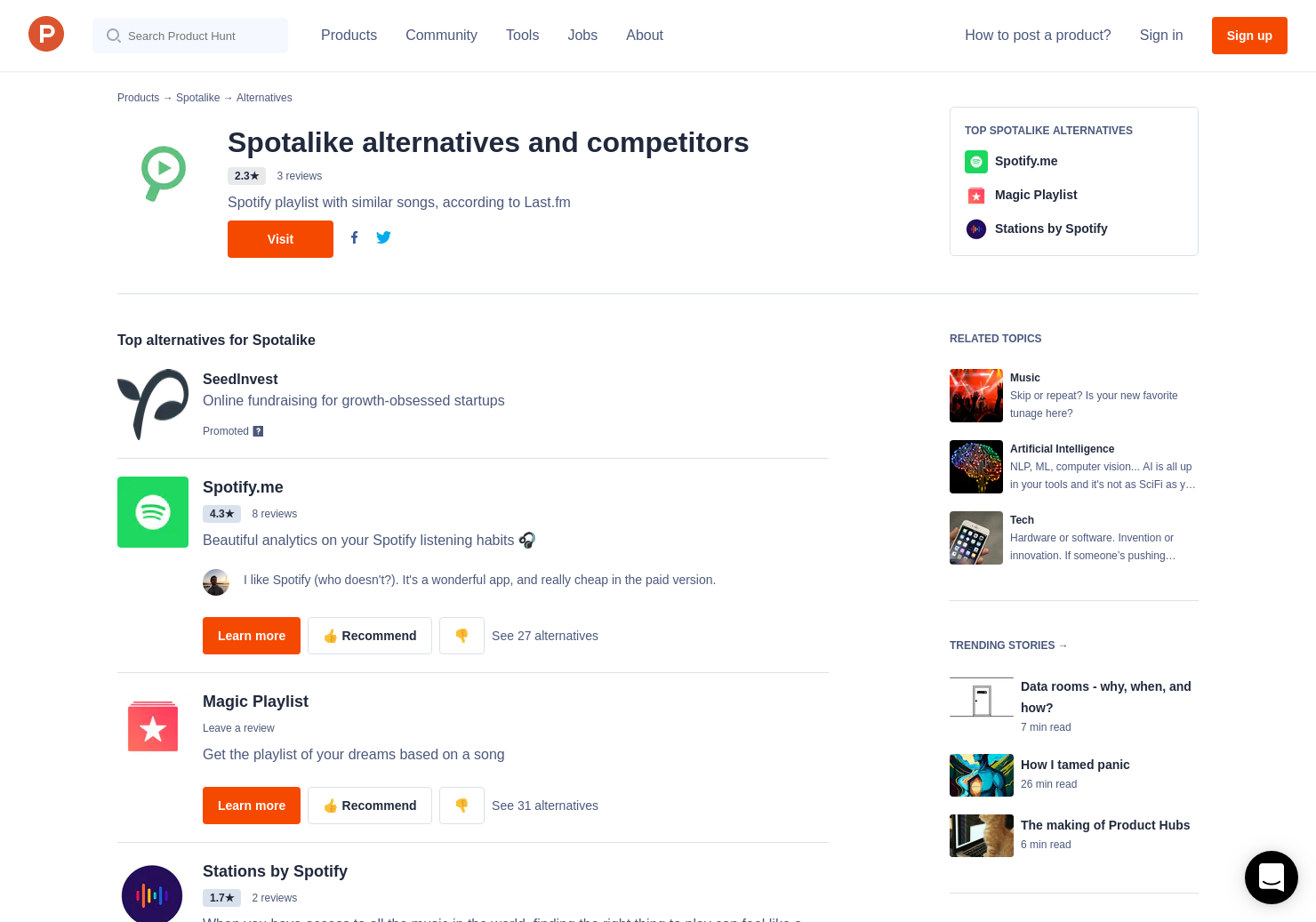 7 Alternatives to Spotalike | Product Hunt