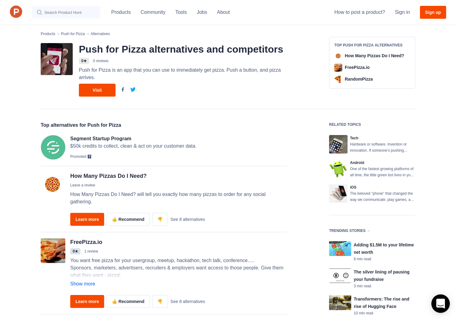 13 Alternatives to Push for Pizza for Android, iPhone | Product Hunt