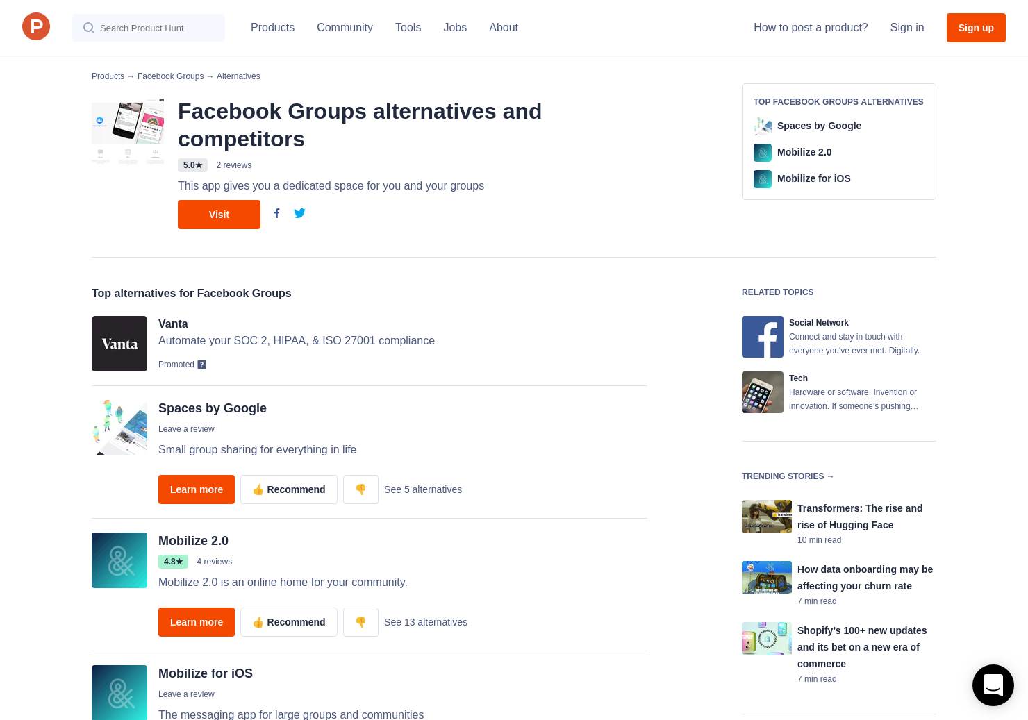 6 Alternatives To Facebook Groups Product Hunt