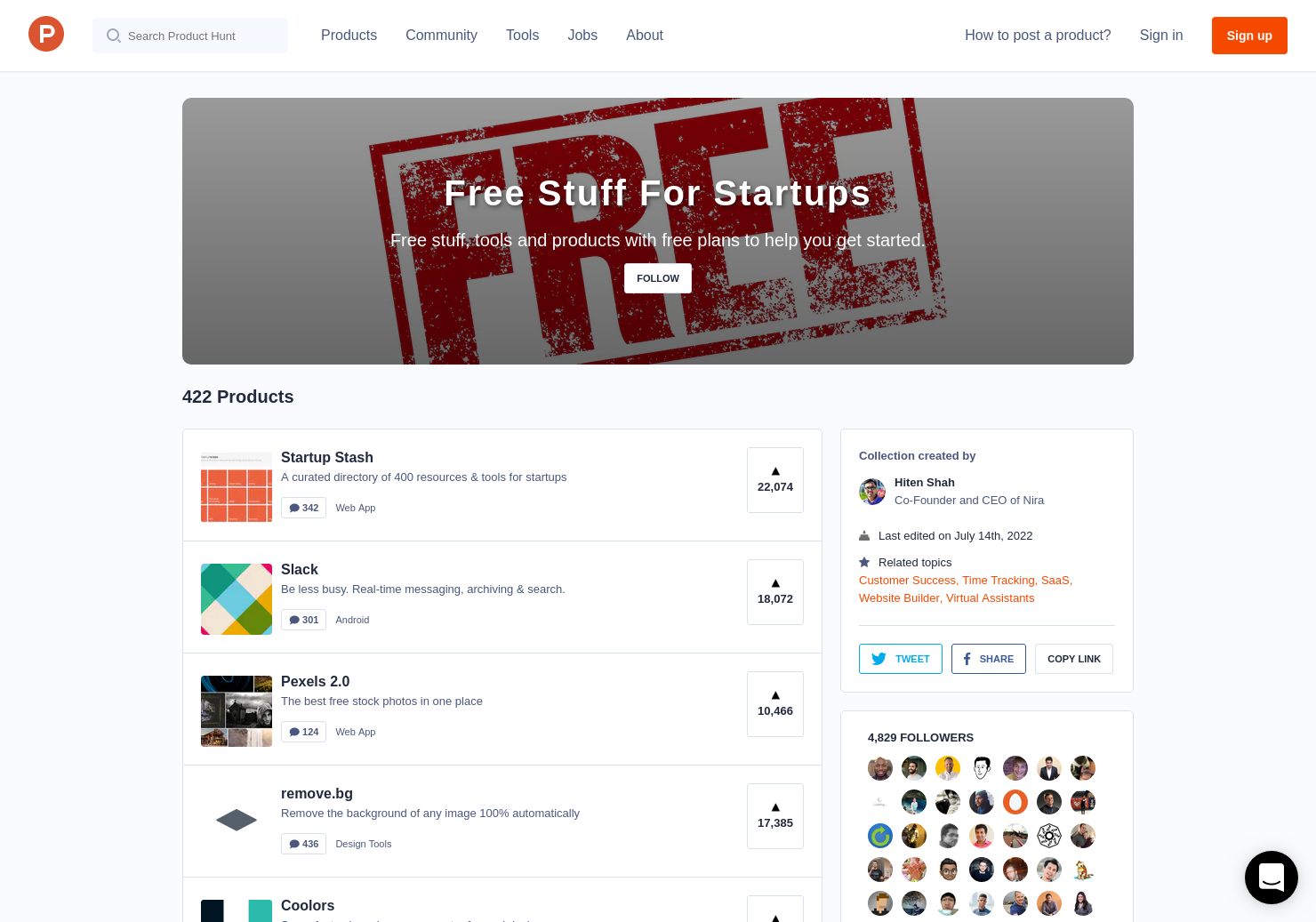 Free Stuff For Startups by Hiten Shah   Product Hunt