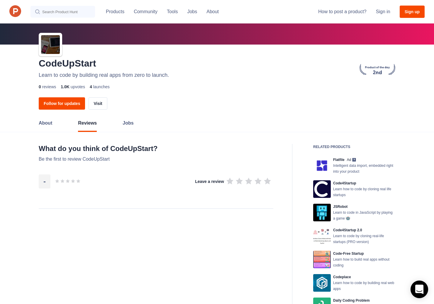 CodeUpStart Reviews - Pros, Cons and Rating   Product Hunt