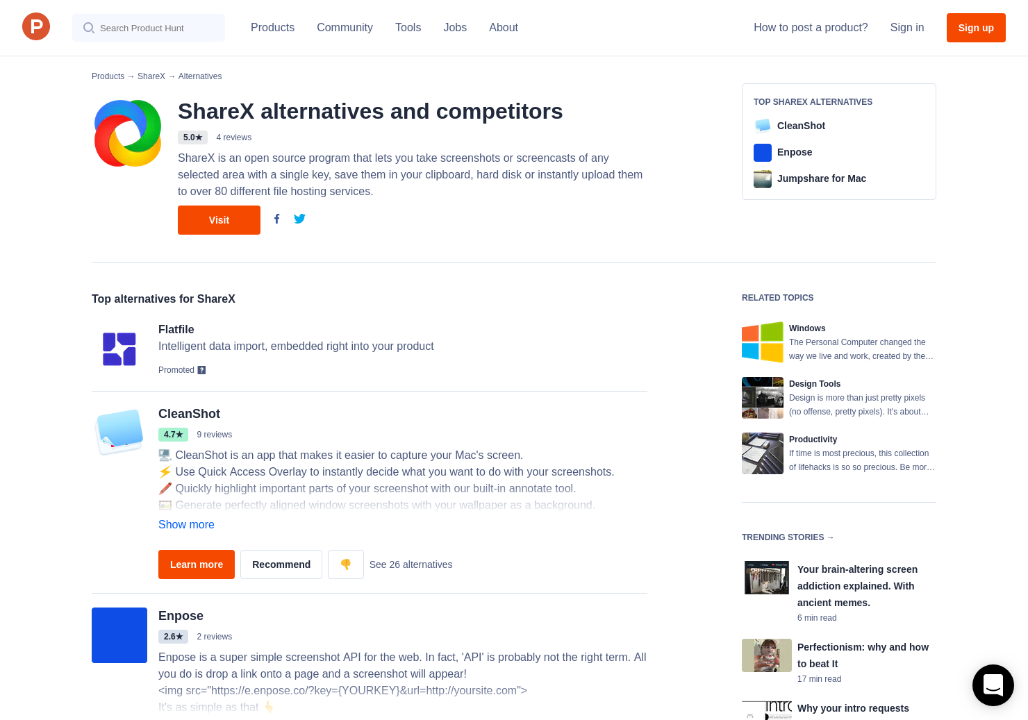 8 Alternatives to ShareX for Windows | Product Hunt