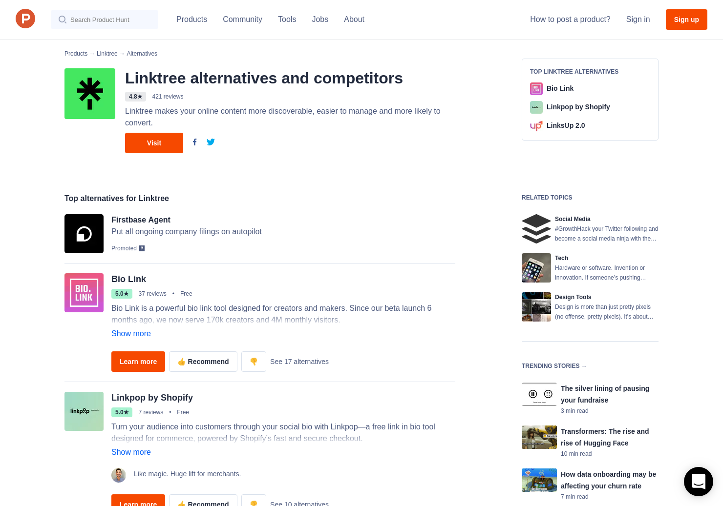 18 Alternatives to Linktree | Product Hunt