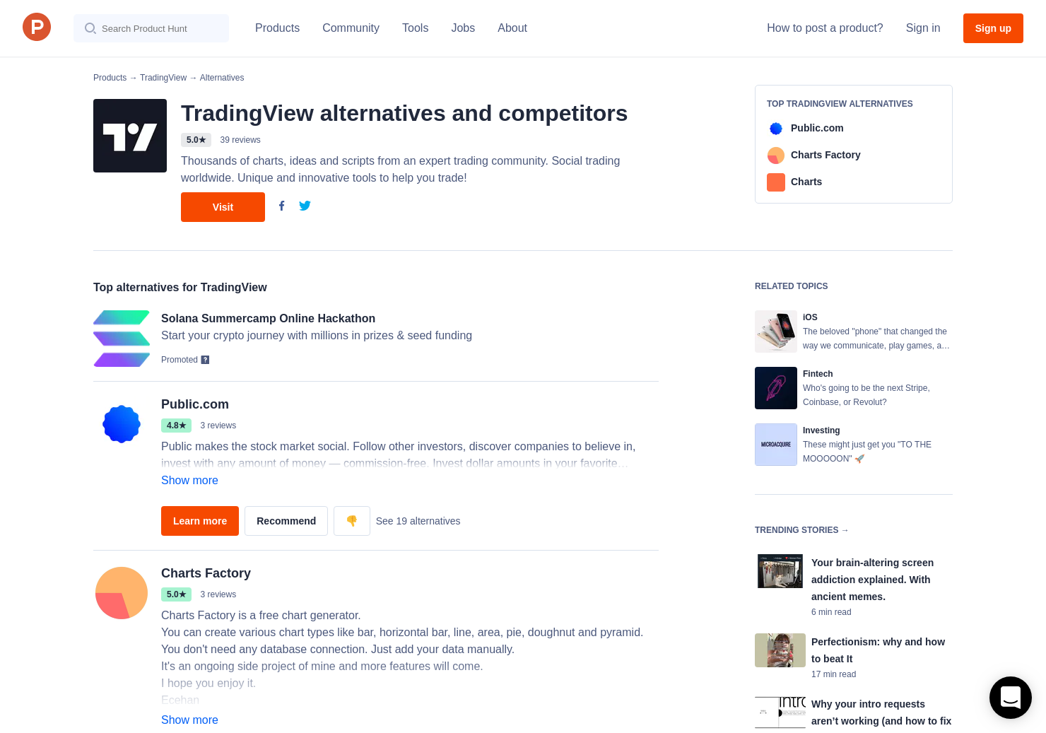 6 Alternatives to TradingView Lightweight Charts | Product Hunt