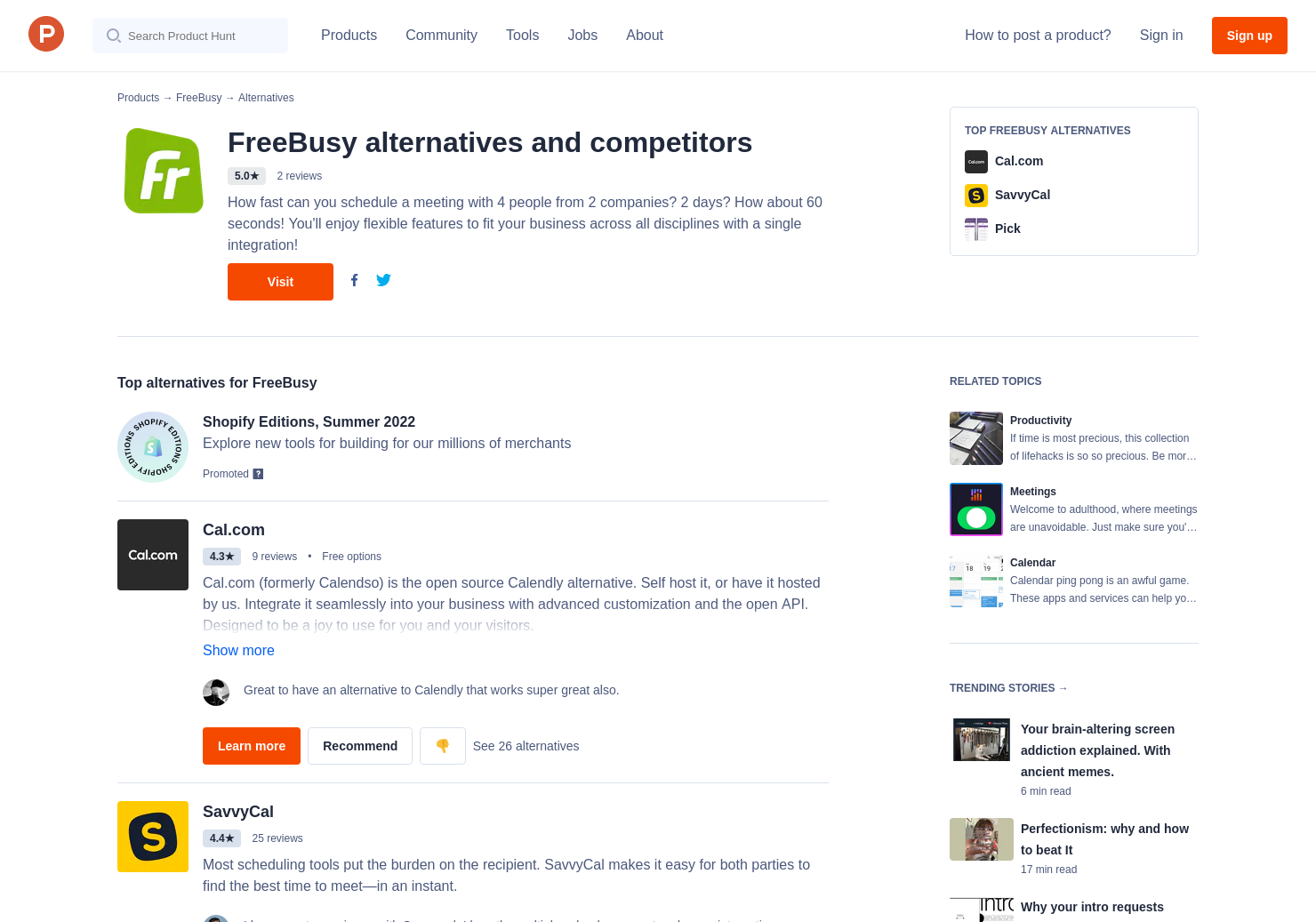 6 Alternatives to FreeBusy Scheduling Assistant | Product Hunt