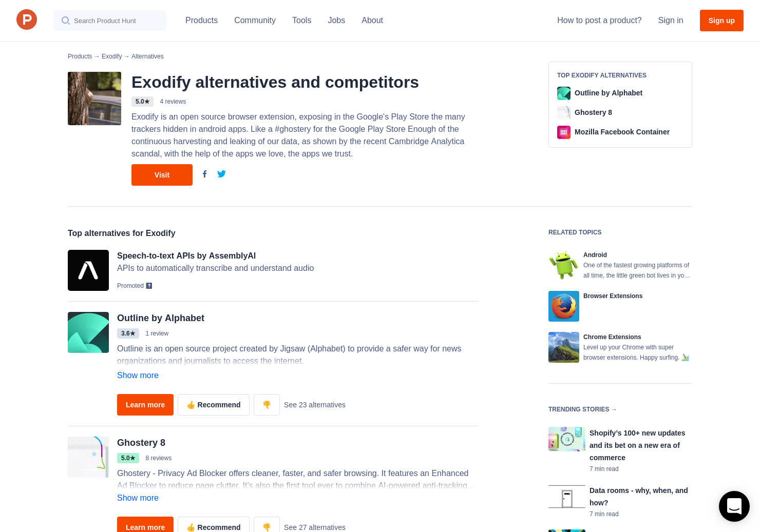 16 Alternatives to Exodify for Android, Chrome Extensions | Product Hunt
