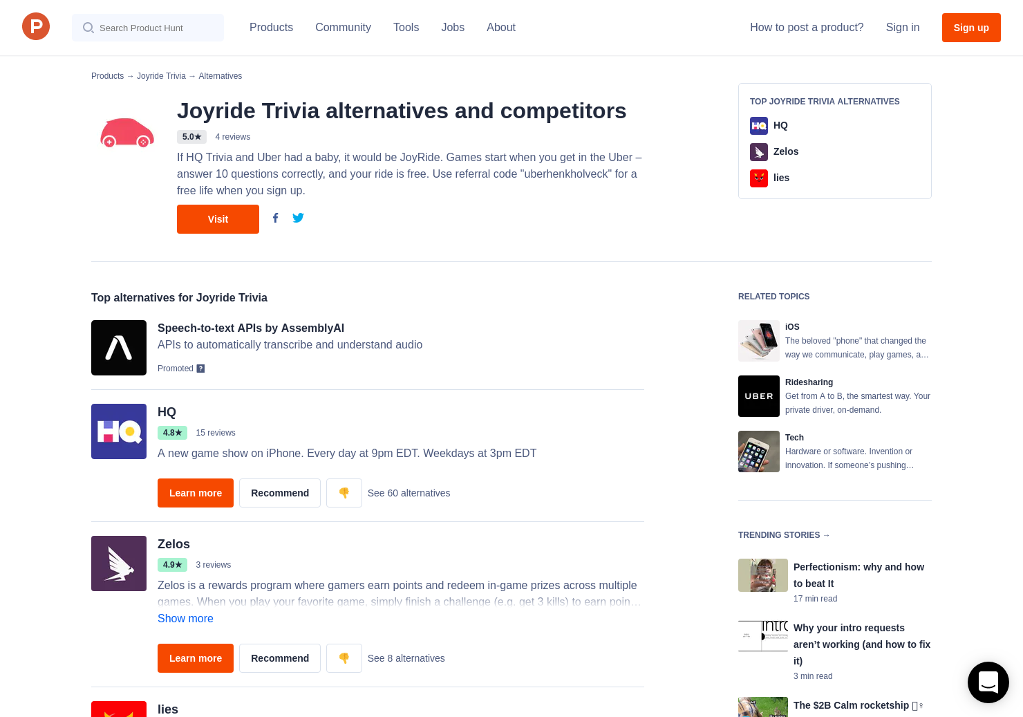 17 Alternatives to Joyride Trivia for iPhone | Product Hunt