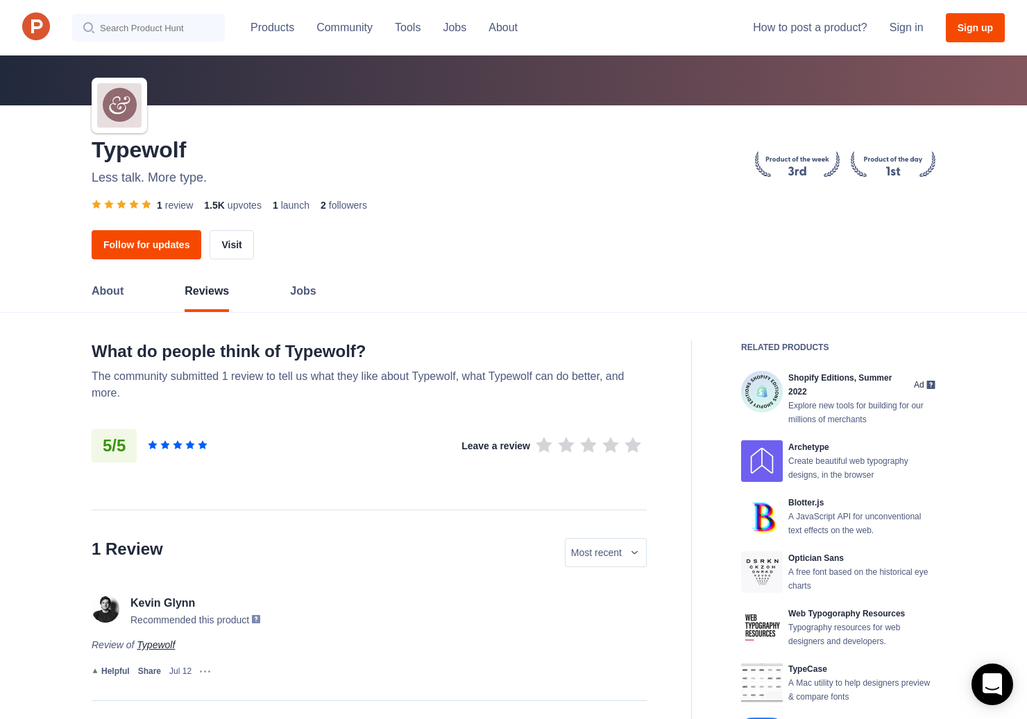 1 Typewolf Reviews - Pros, Cons and Rating | Product Hunt