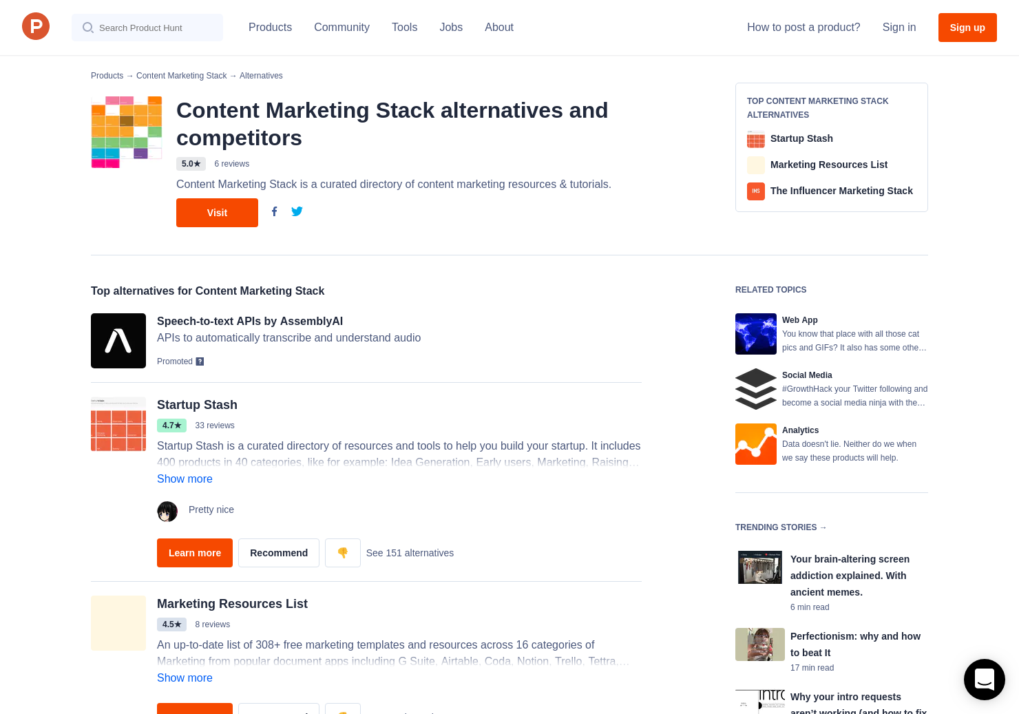 72 Alternatives to Content Marketing Stack | Product Hunt