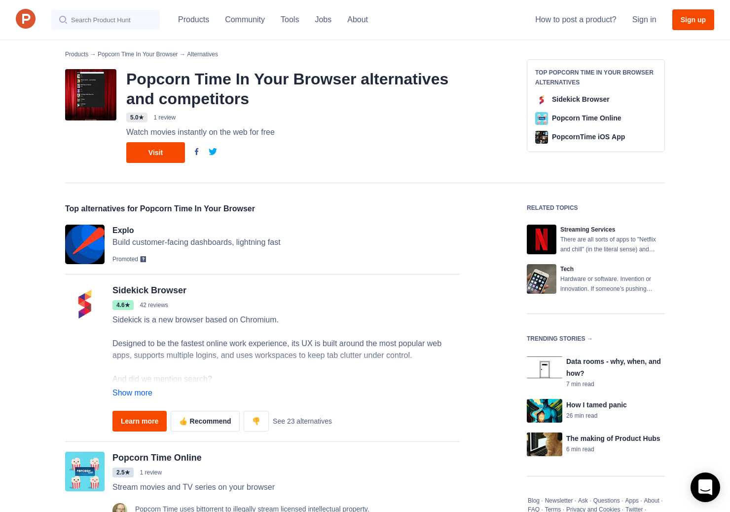 7 Alternatives to Popcorn Time In Your Browser | Product Hunt