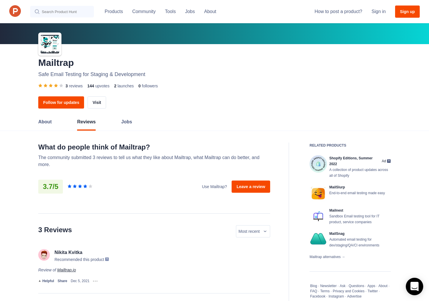1 Mailtrap io Reviews - Pros, Cons and Rating | Product Hunt