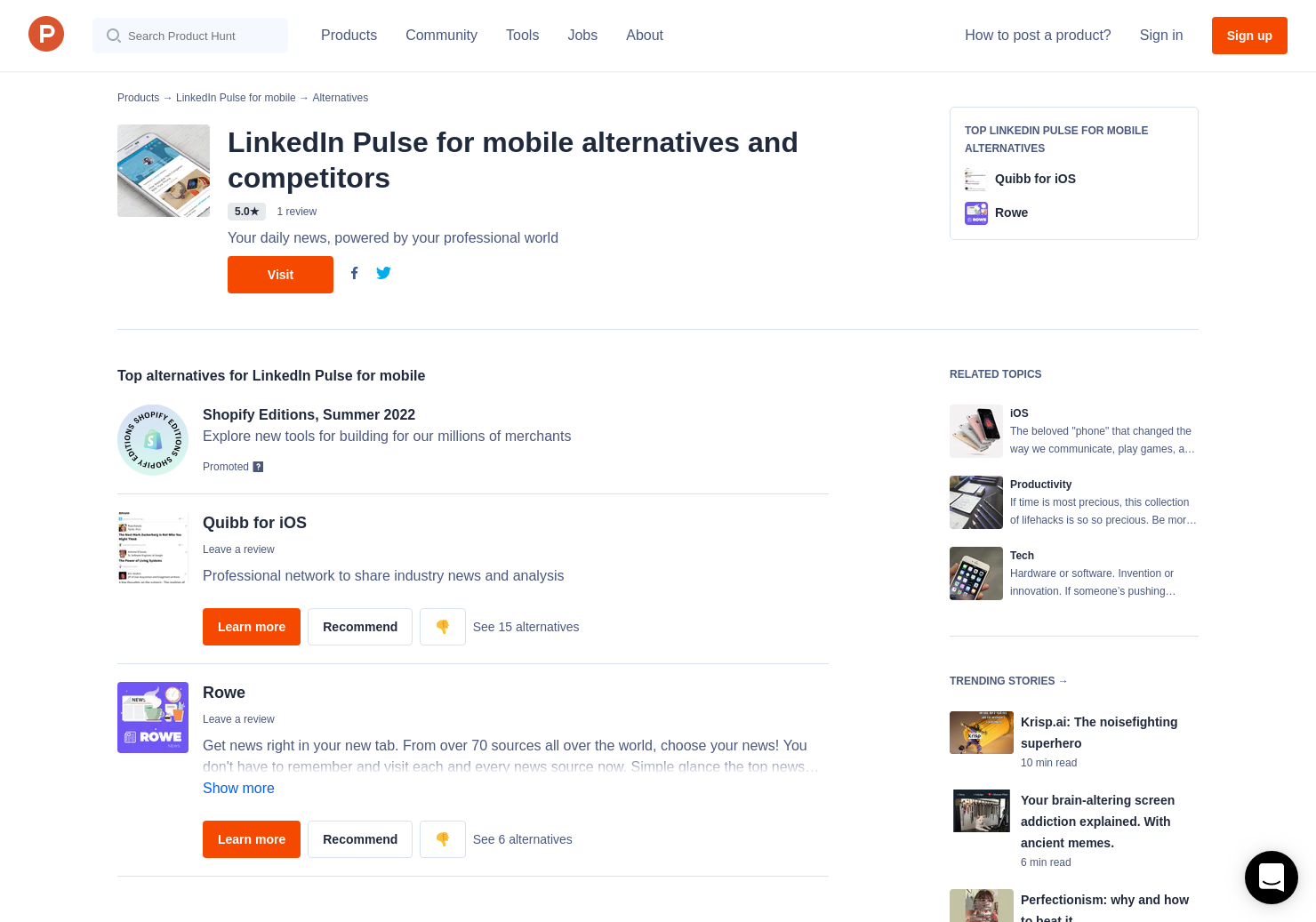 3 Alternatives to LinkedIn Pulse for mobile for iPhone   Product Hunt