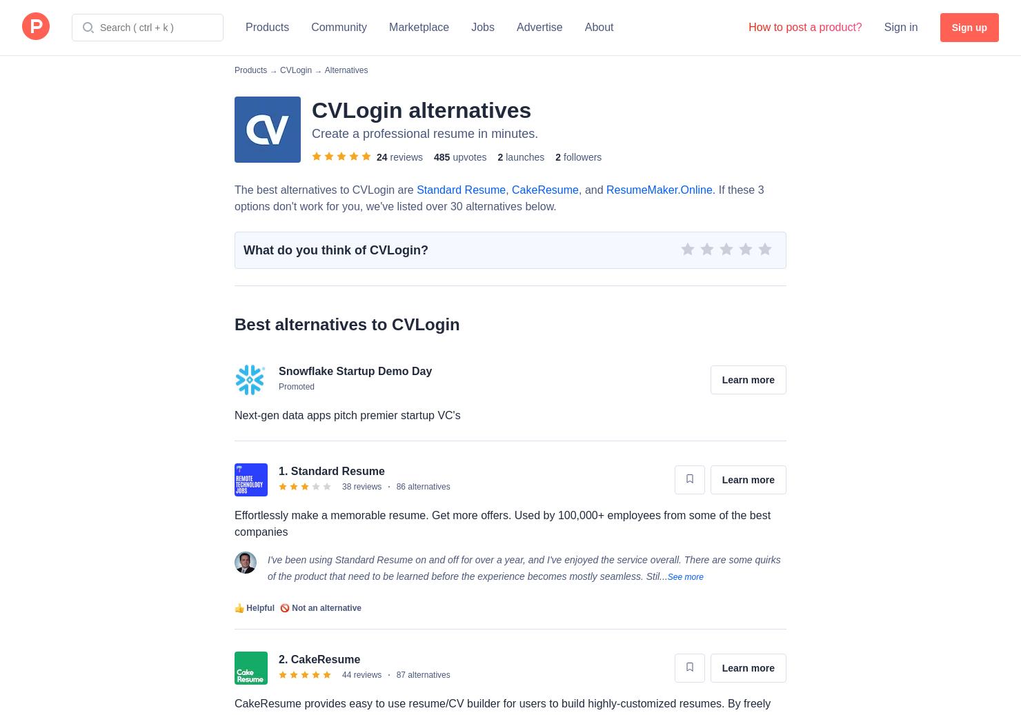 5 alternatives to cvlogin online resume cv builder product hunt