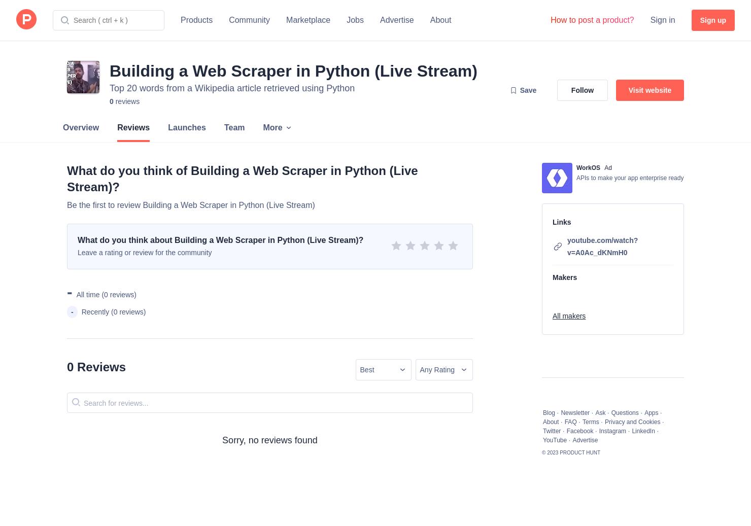 Building a Web Scraper in Python (Live Stream) Reviews