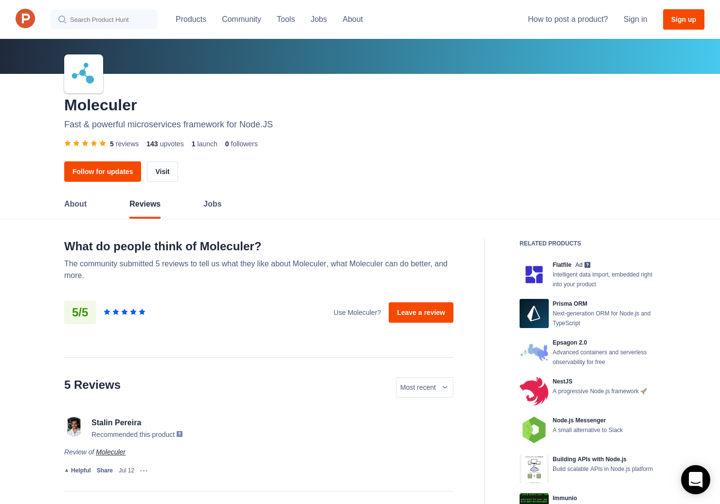 5 Moleculer Reviews - Pros, Cons and Rating | Product Hunt