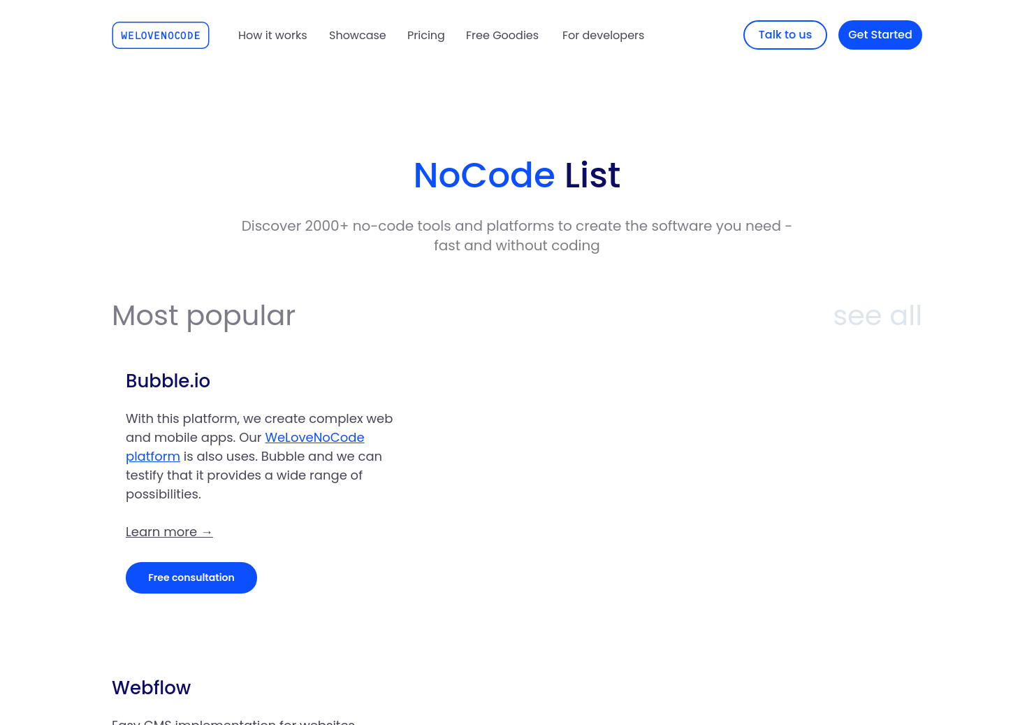 NoCode Tool List by WeLoveNoCode
