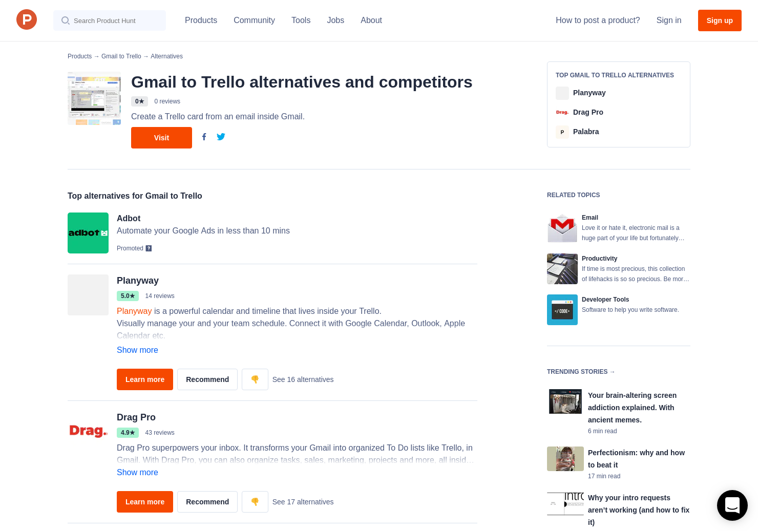 10 Alternatives to Gmail to Trello | Product Hunt
