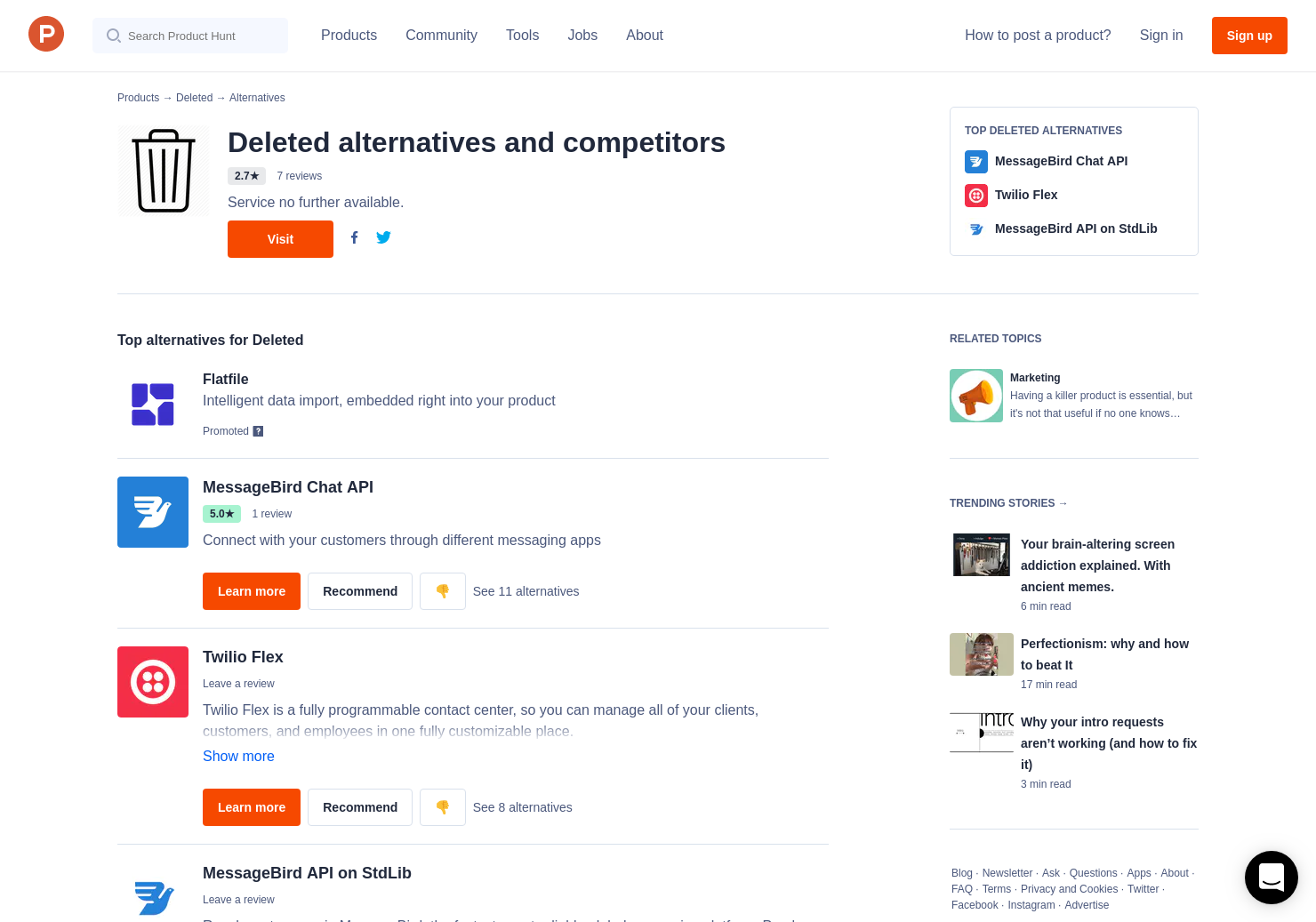 6 Alternatives to Deleted | Product Hunt