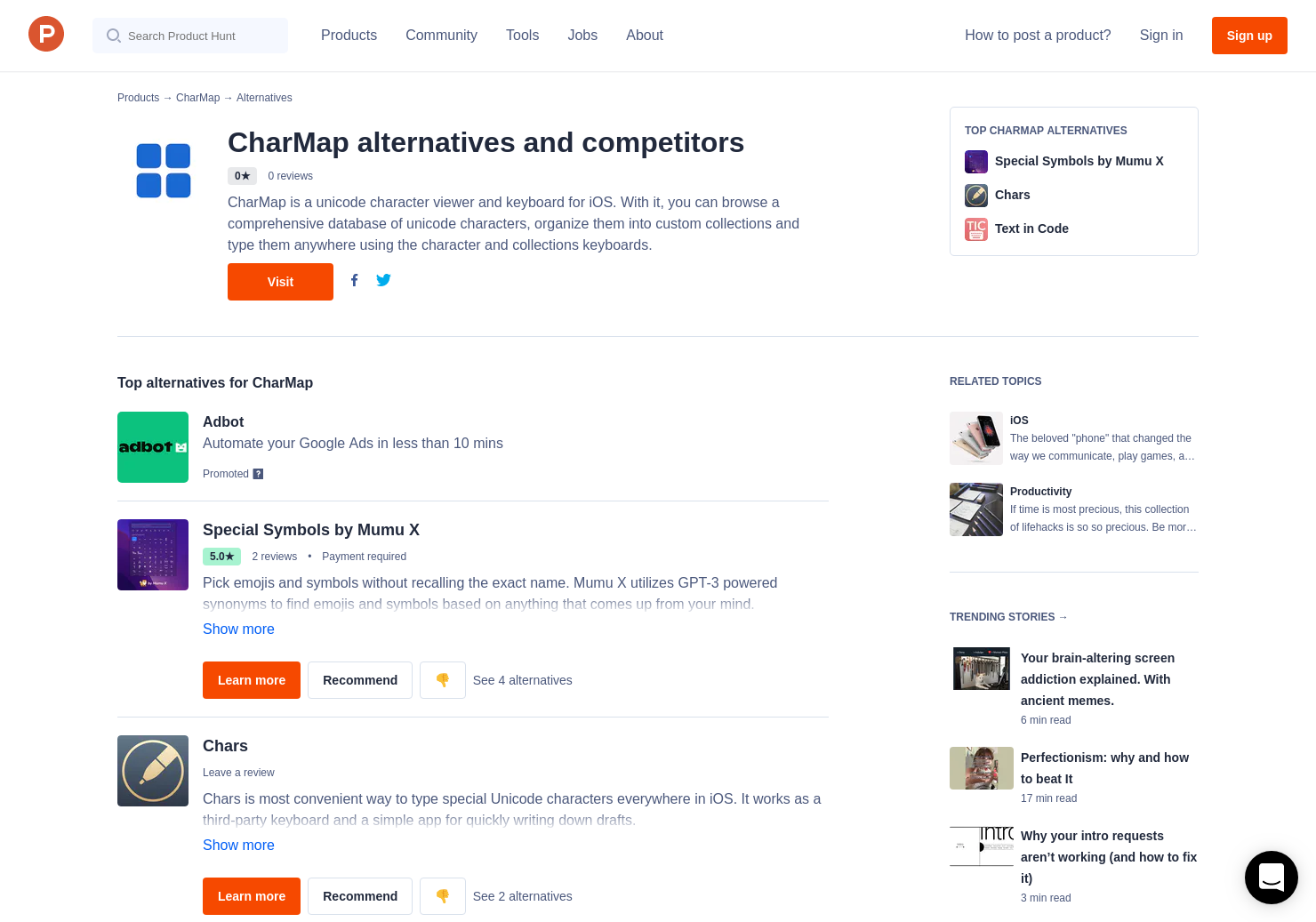 2 Alternatives to CharMap for iPhone | Product Hunt