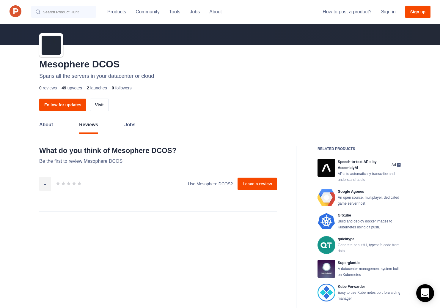 Mesophere DCOS Reviews - Pros, Cons and Rating | Product Hunt