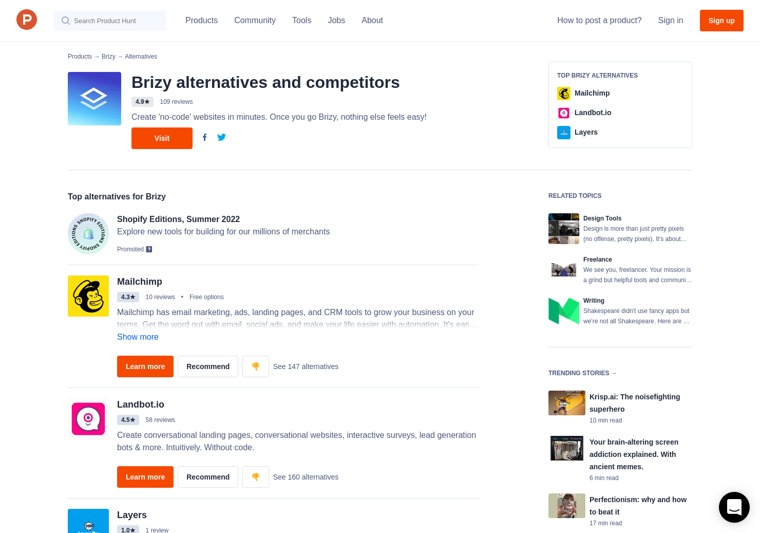 7 Alternatives To Brizy Product Hunt