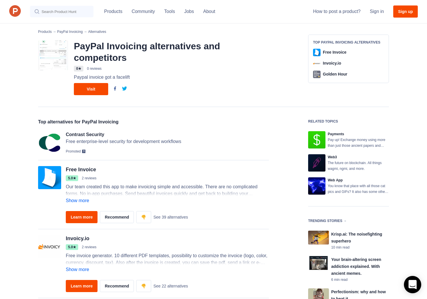 6 Alternatives to PayPal Invoicing | Product Hunt
