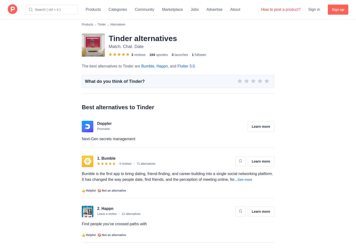 5 Alternatives To Tinder Online Product Hunt