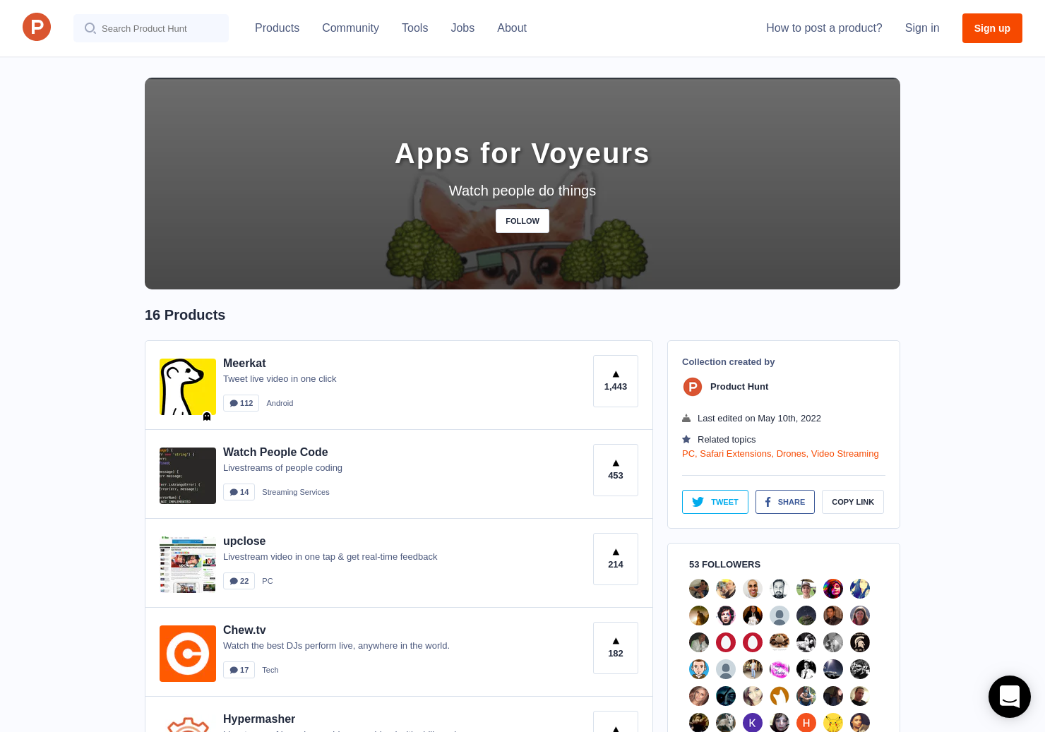 Apps for Voyeurs | Product Hunt