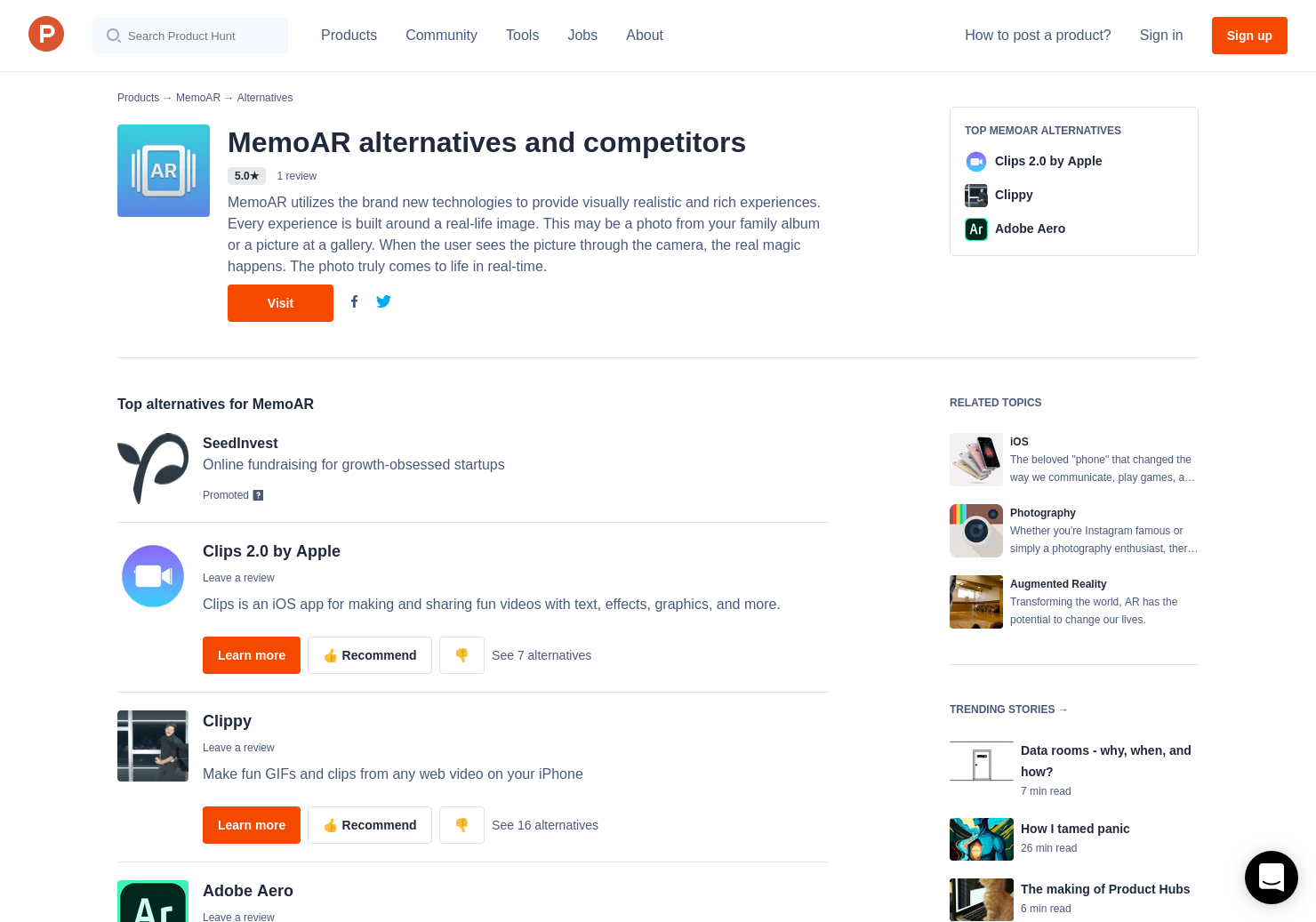 7 Alternatives to MemoAR for iPhone   Product Hunt