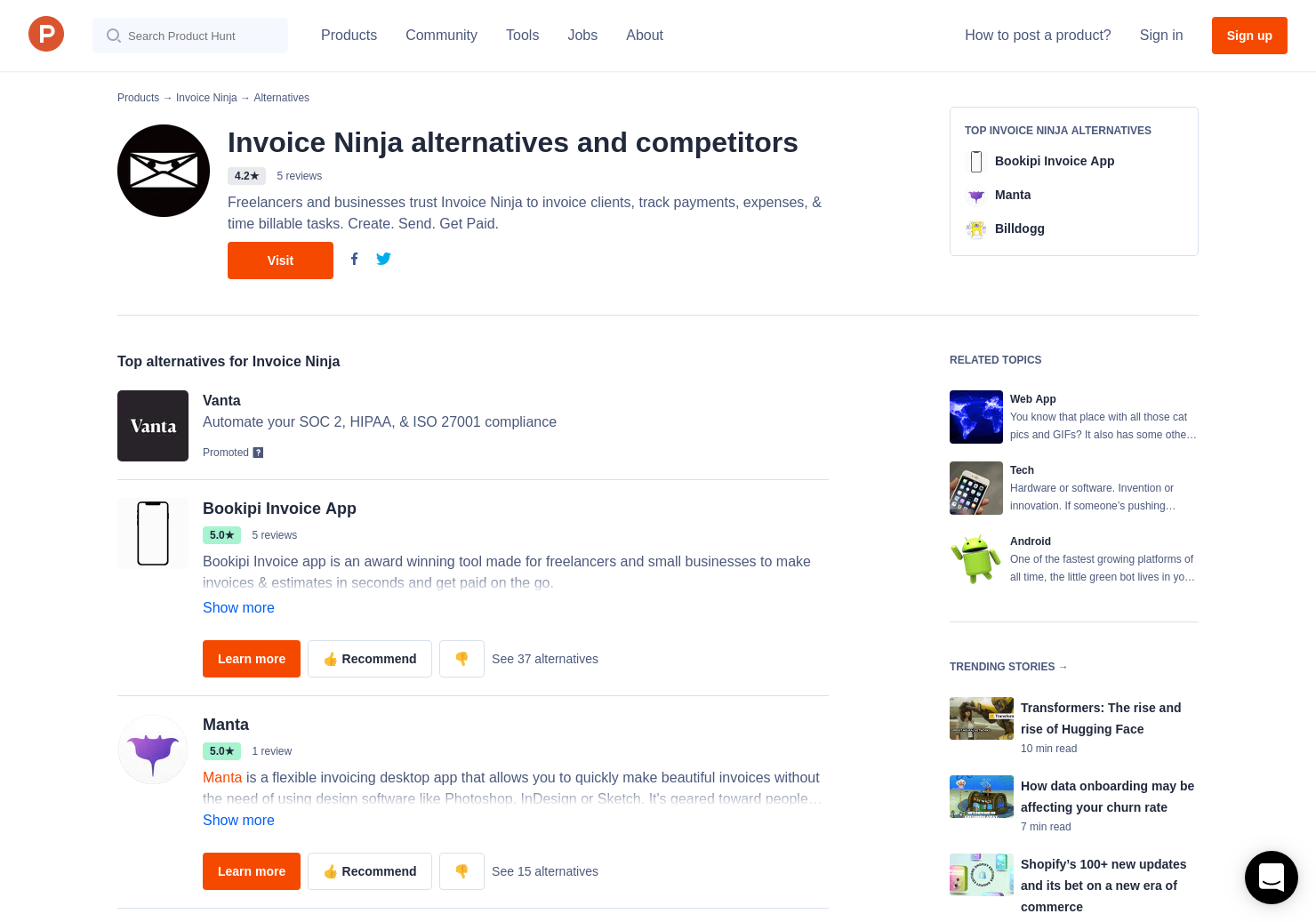 Alternatives To Invoice Ninja Product Hunt - Invoice ninja