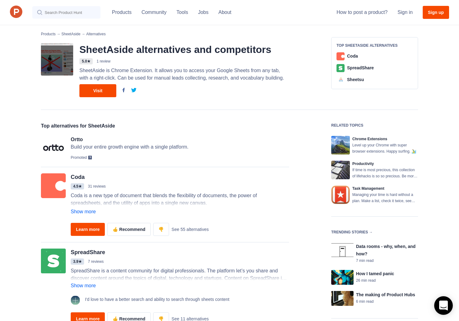 10 Alternatives To Sheetaside For Chrome Extensions Product Hunt