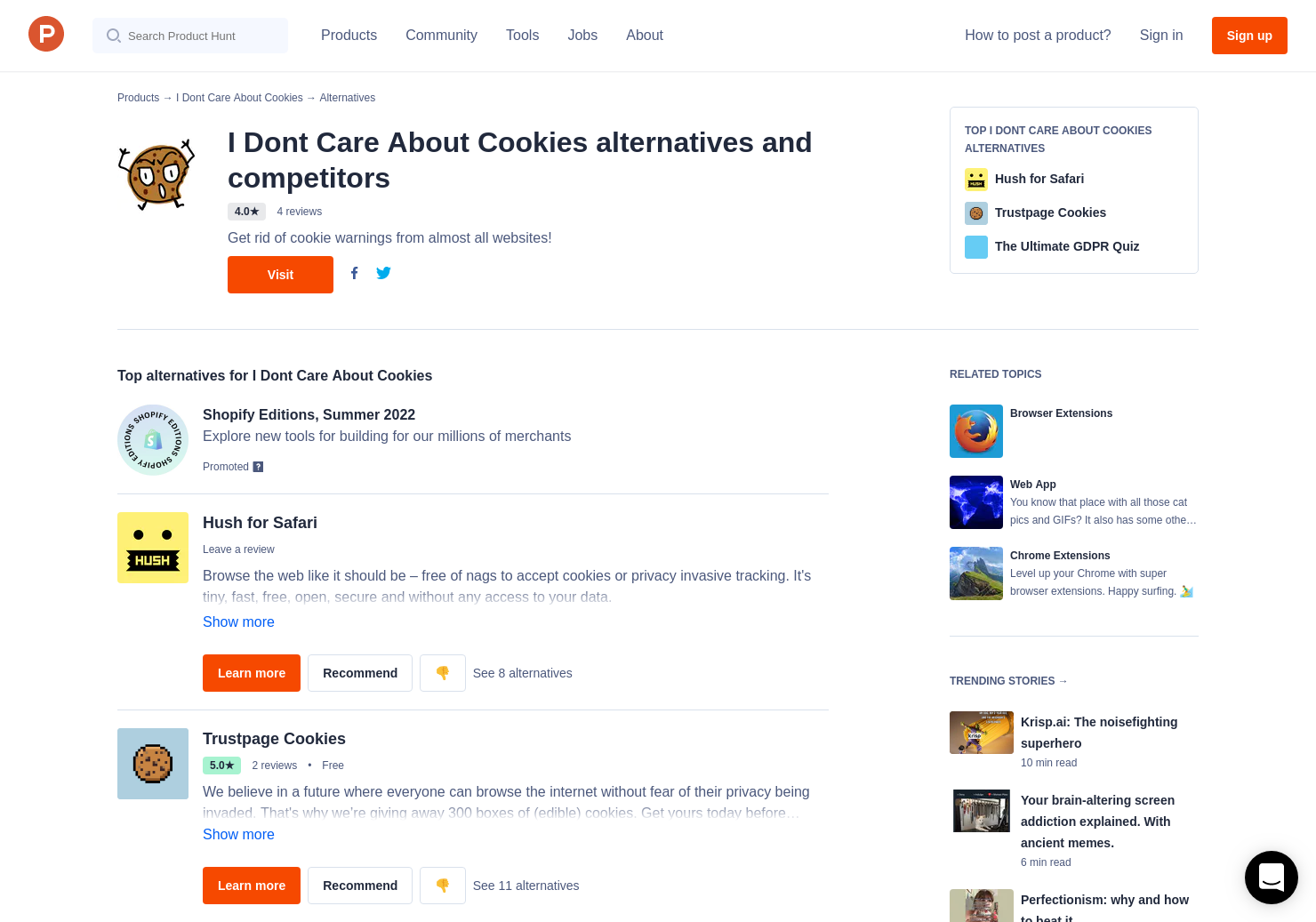 5 Alternatives to I Don't Care About Cookies for Chrome Extensions