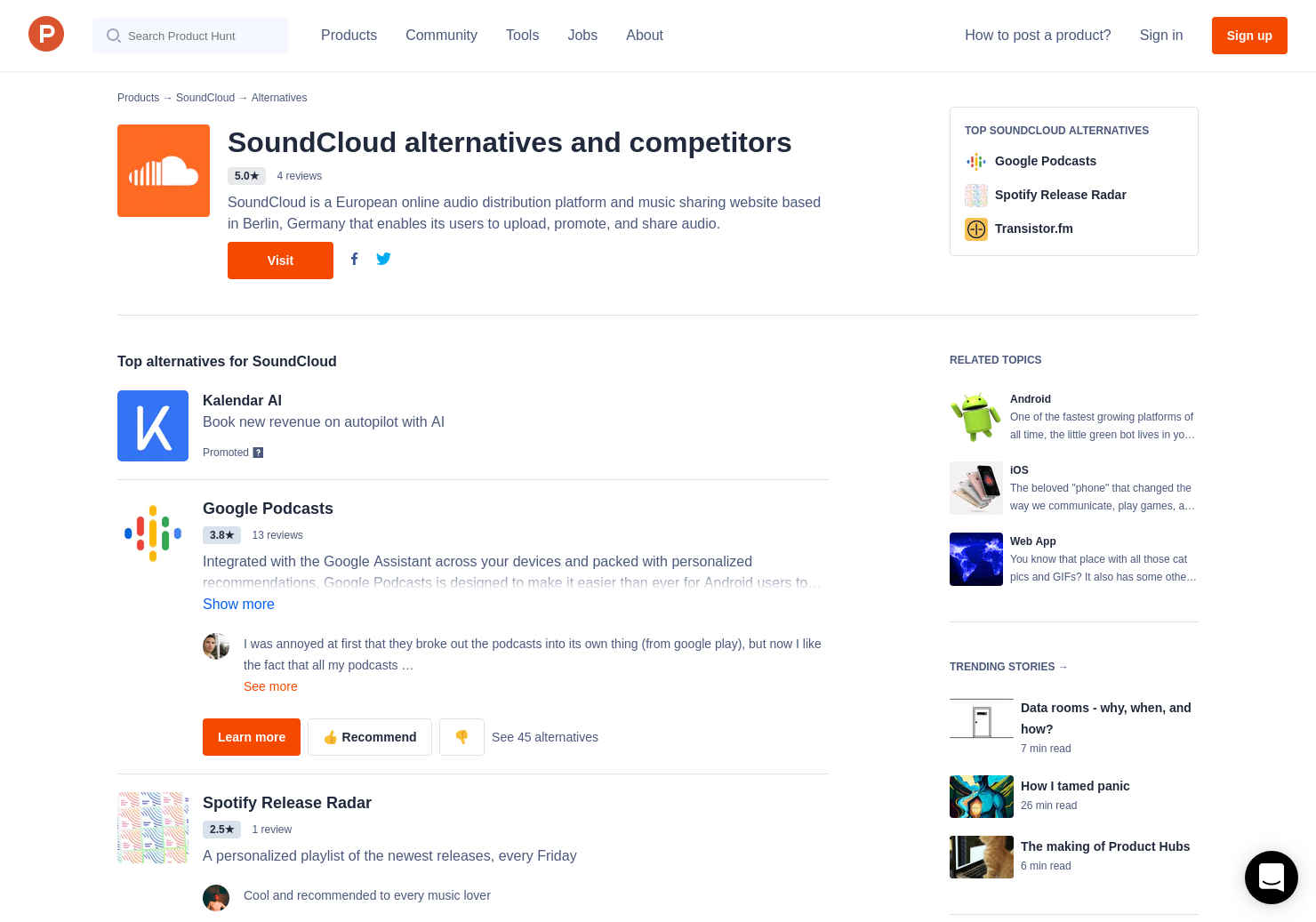 26 Alternatives to Podcasting on SoundCloud | Product Hunt