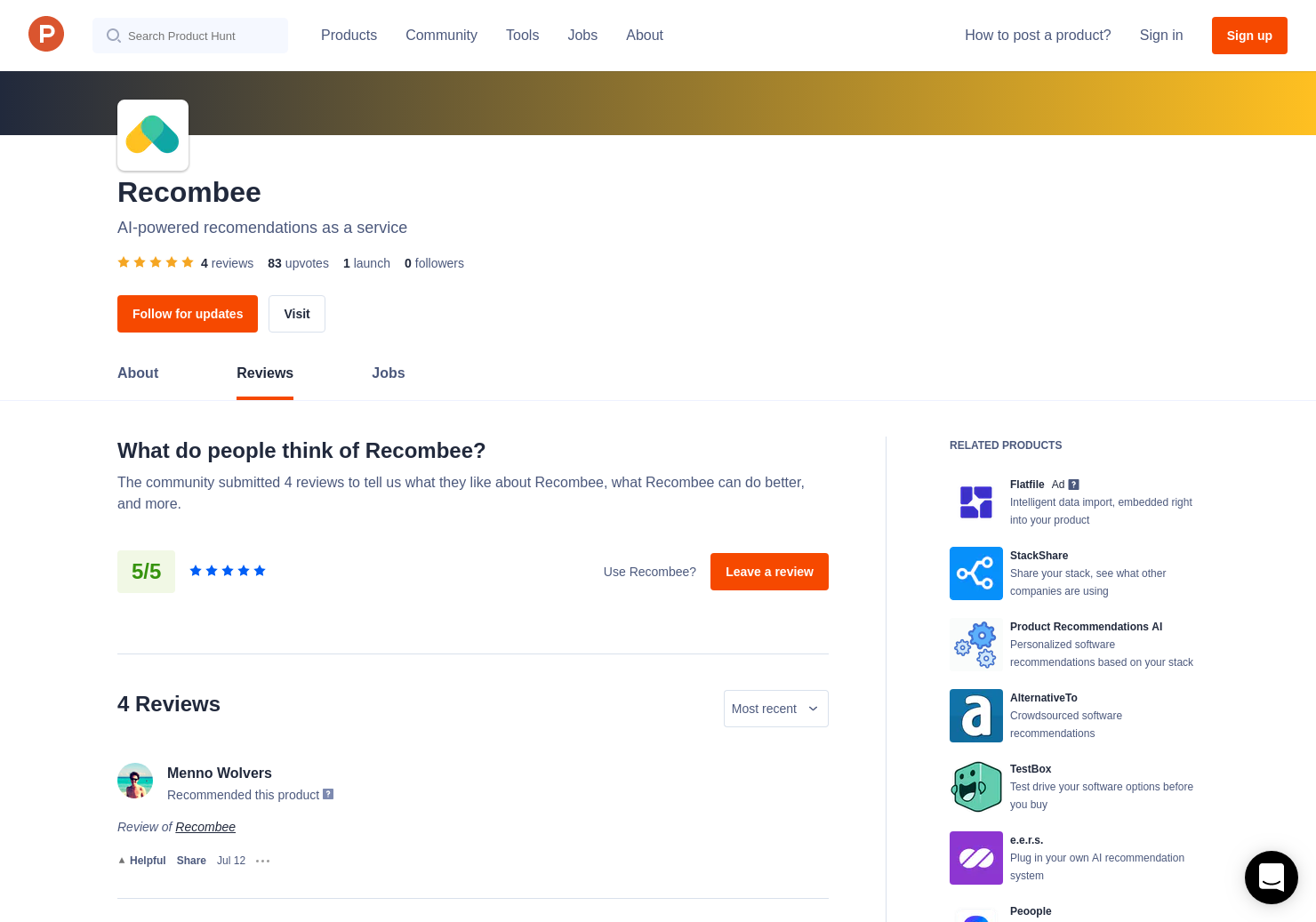 2 Recombee Reviews - Pros, Cons and Rating | Product Hunt