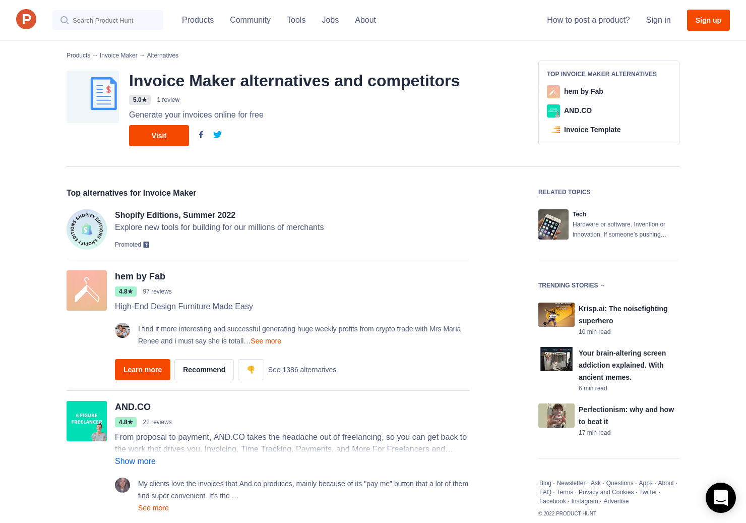 15 alternatives to invoice maker product hunt