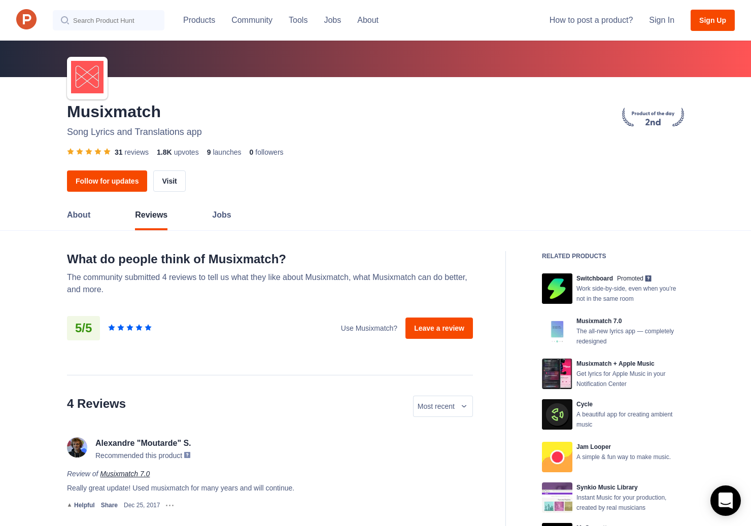 25 Musixmatch 7 0 Reviews - Pros, Cons and Rating   Product Hunt