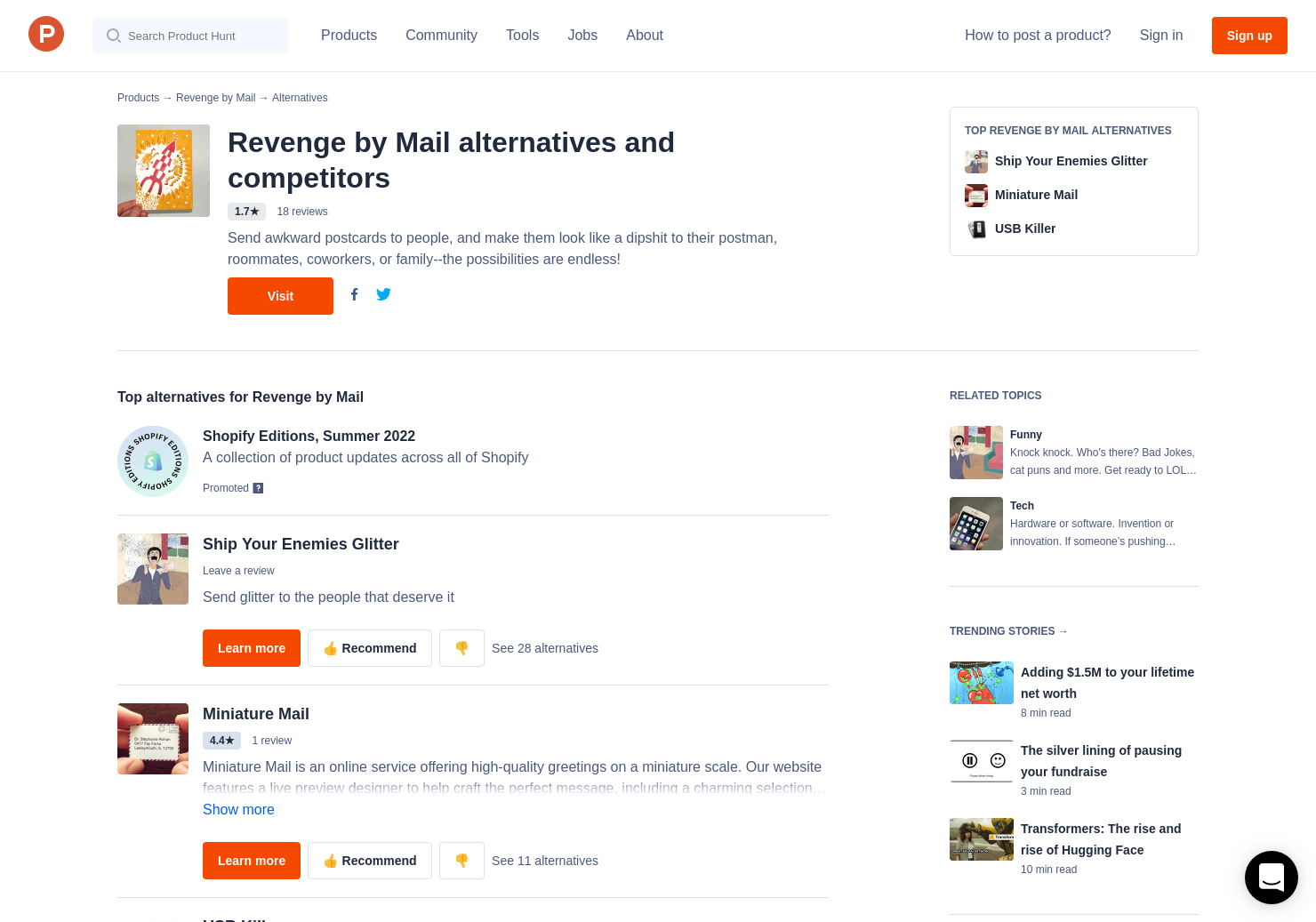 18 Alternatives to Revenge by Mail | Product Hunt