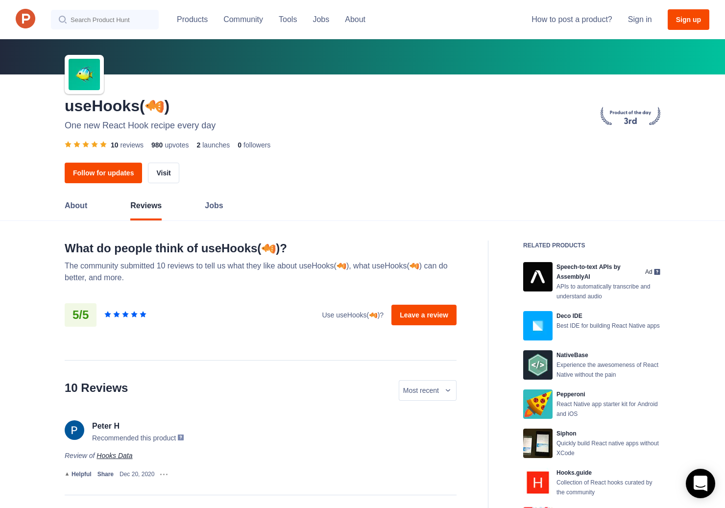 useHooks(🐠) Reviews - Pros, Cons and Rating | Product Hunt