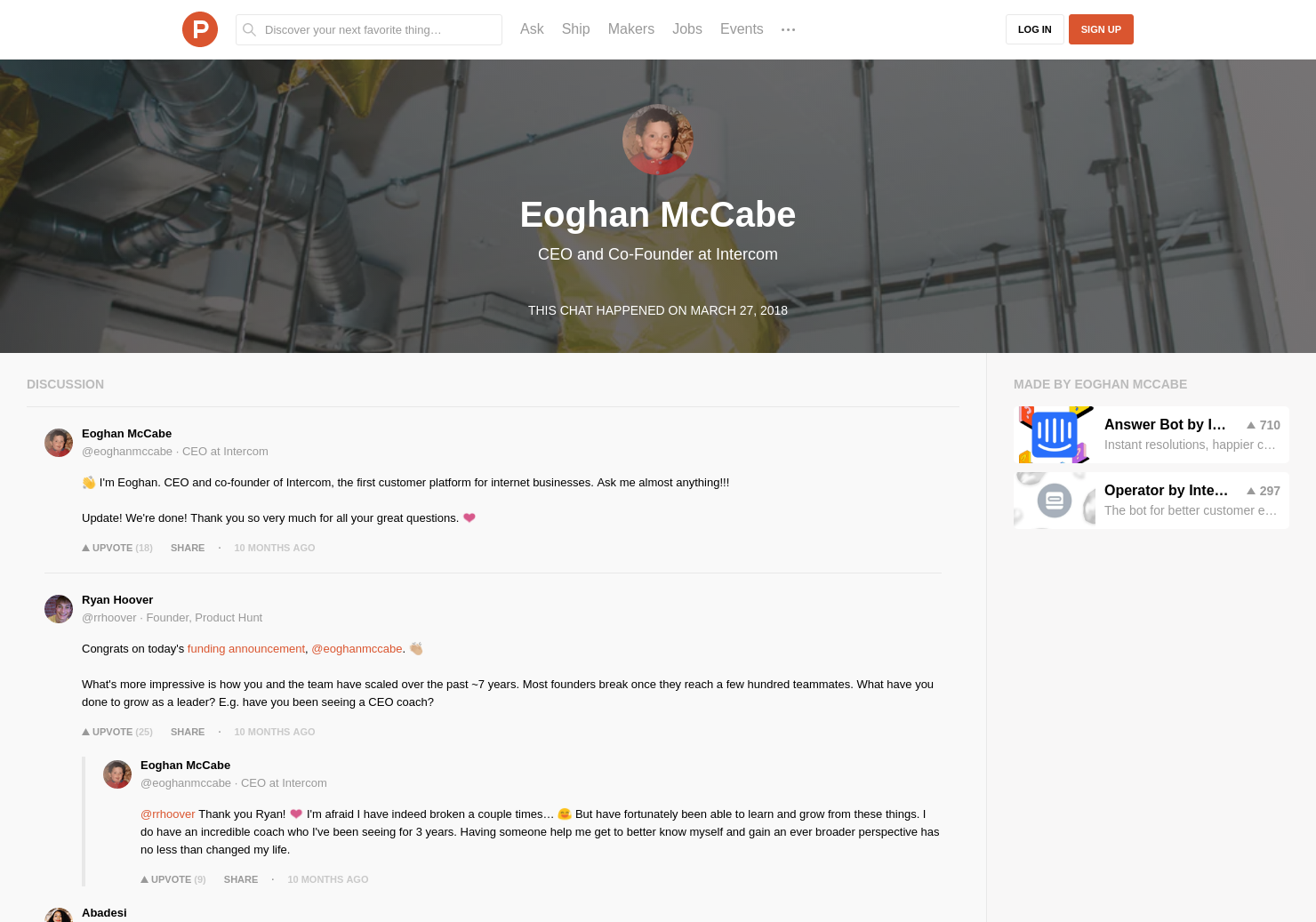 Eoghan McCabe LIVE Chat on Product Hunt