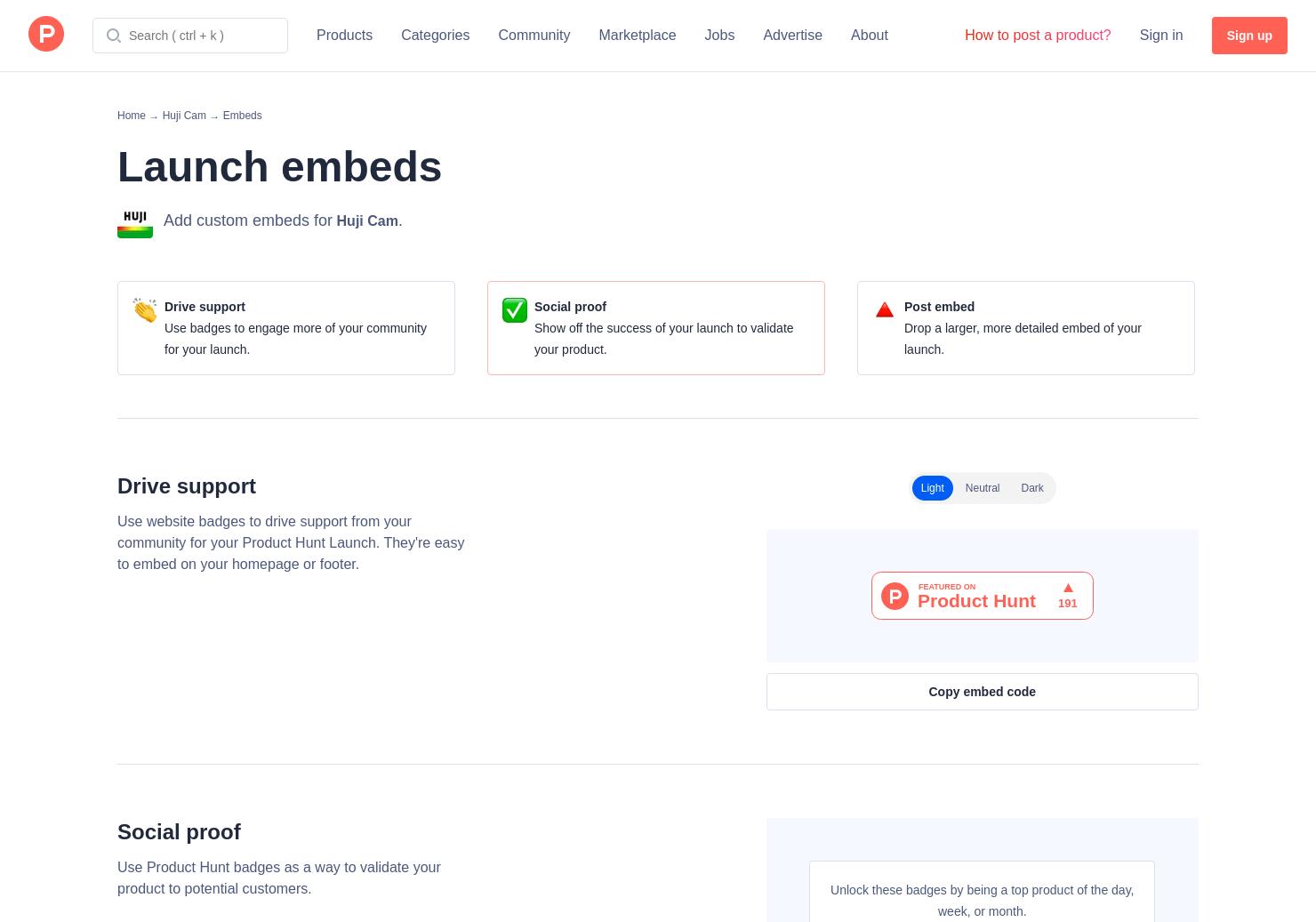 Badges & Embeds | Product Hunt