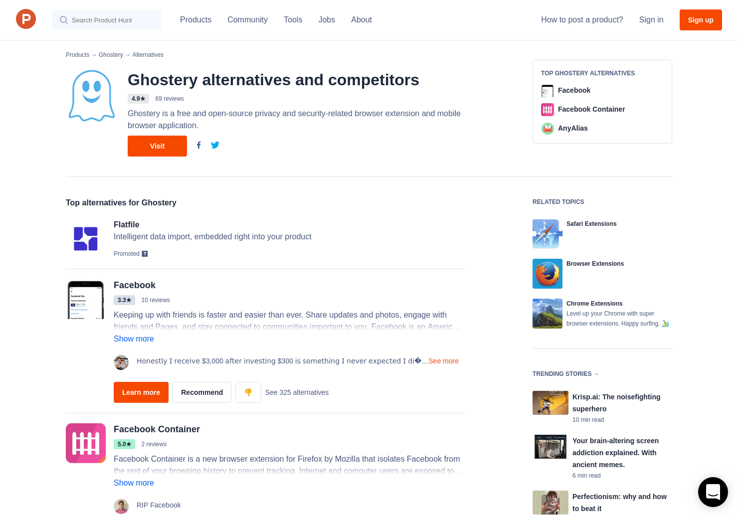 22 Alternatives to Ghostery 8 for Chrome Extensions