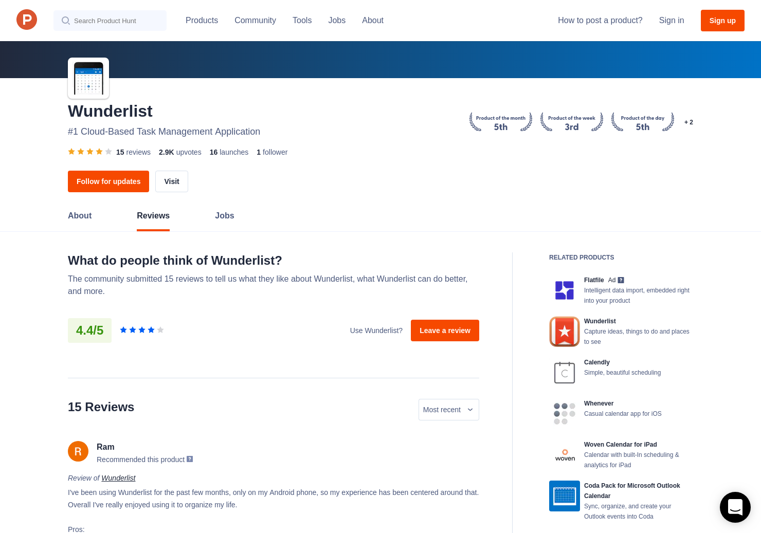 Wunderlist Calendar for Outlook Reviews - Pros, Cons and Rating