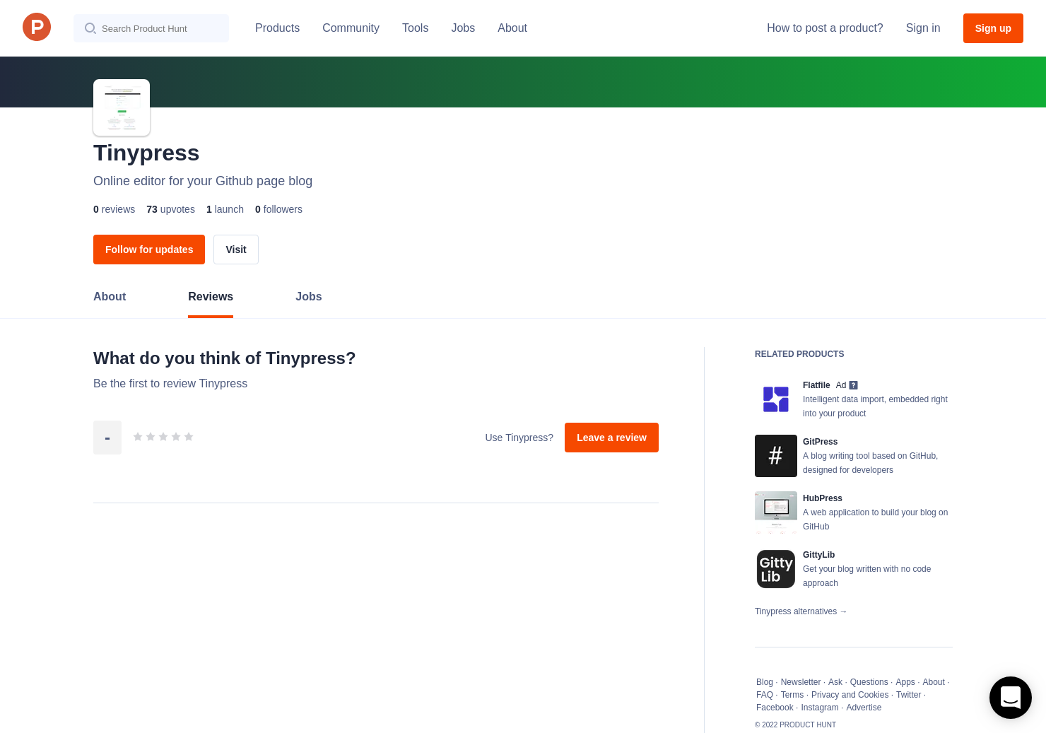 Tinypress Reviews - Pros, Cons and Rating | Product Hunt