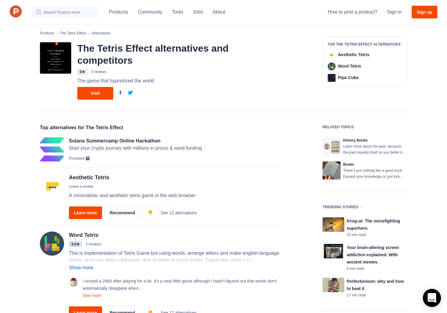 3 Alternatives to The Tetris Effect | Product Hunt