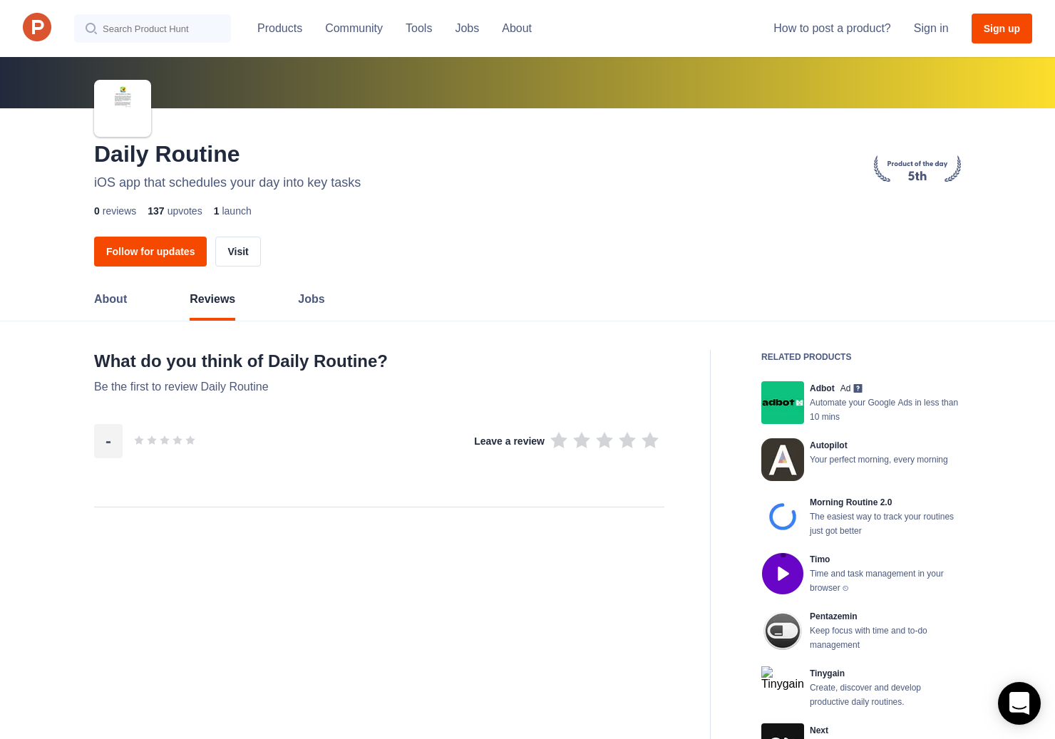 daily routine reviews pros cons and rating product hunt